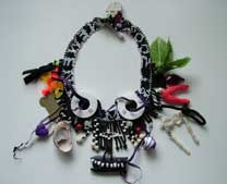 Lynn Davy Beading, Memento Mori necklace as featured in Beadwork magazine in October and November 2006.  Click the thumbnail to see a larger image, photographed by Joanna Bury