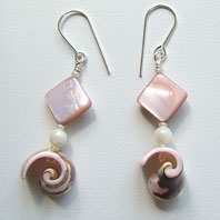 Lynn Davy Beading - Beading Gallery - Photography by Joanna Bury. Pink Shell Earrings   Simple shell swirls and mother-of-pearl diamond shapes on sterling wires, to complement my seaside-themed necklaces. Currently listed for sale in my Etsy shop   click on thumbnail to see larger image