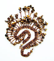 Lynn Davy Beading - Beading Gallery - Photography by Joanna Bury. Tigereye collar   A peyote collar with a lavish fringe of tigereye chips; one of my proposed new kit designs for Westcoast Jewellery   click on thumbnail to see larger image