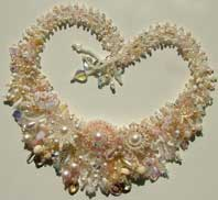 Lynn Davy Beading, Wedding Garden collar. A luscious pale pink and pearl version of the Rose Garden collar, Lynn's signature piece, which will be published as a project in Bead magazine in December 2007.
